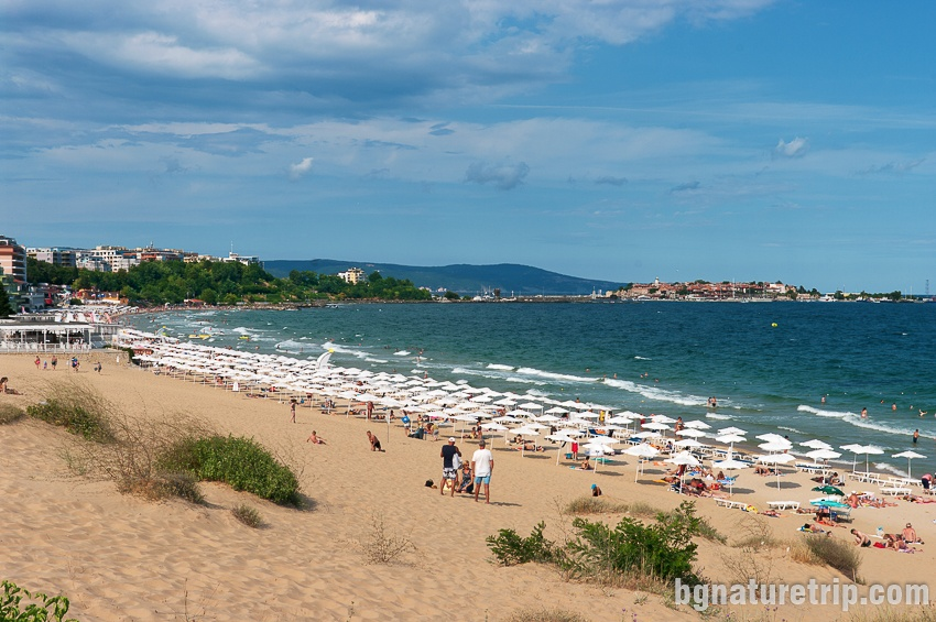 The beach of Nessebar - the eastern end where is the area with umbrellas and sunbeds