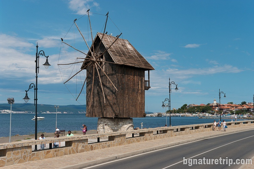 "The wooden mill of the strip leading to Nessebar - ""Old Town"""