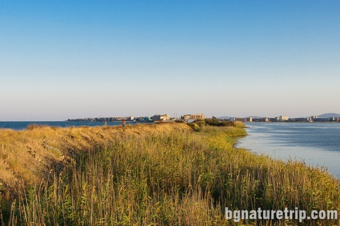 Looking back to Pomorie. To the left is the sea, and to the right - Lake Pomorie.