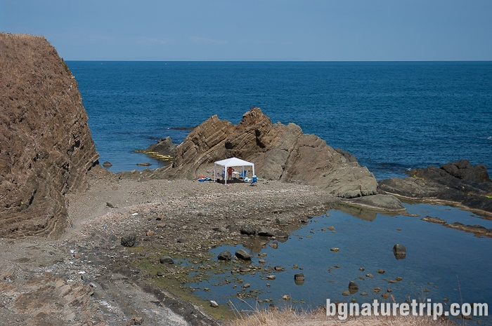 A tent at the surrounding rocks