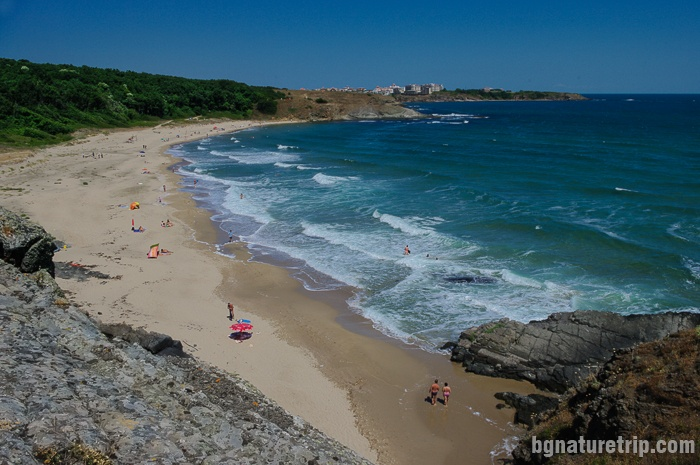 Lipite Beach in the summer when vacationers come. The beach is also suitable for nudists.